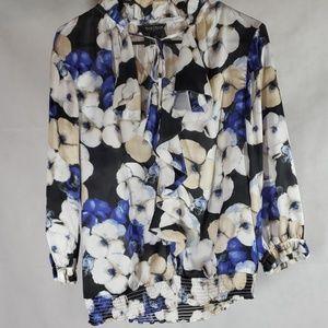 WHBM Floral Pattern Blouse Size Medium